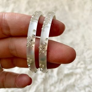 ALEXIS BITTAR White Lucite Hoops